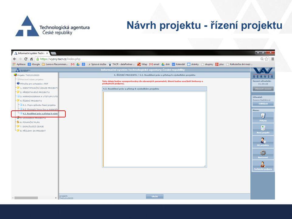 Návrh projektu - řízení projektu