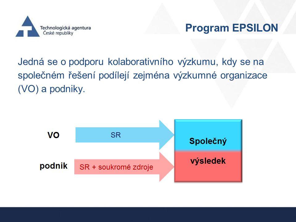 Program EPSILON Jedná se o podporu kolaborativního výzkumu, kdy se na společném řešení podílejí zejména výzkumné organizace (VO) a podniky.