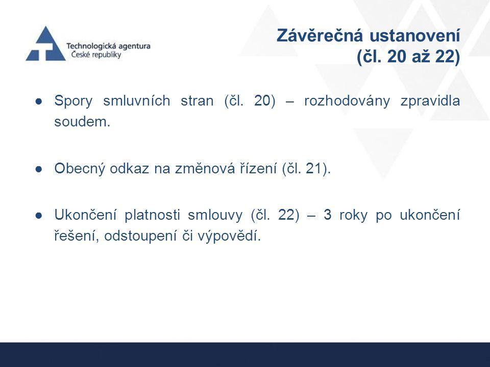 Závěrečná ustanovení (čl. 20 až 22)