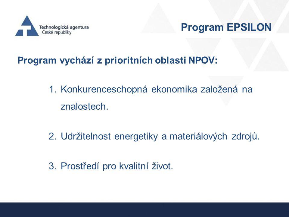 Program EPSILON Program vychází z prioritních oblasti NPOV: