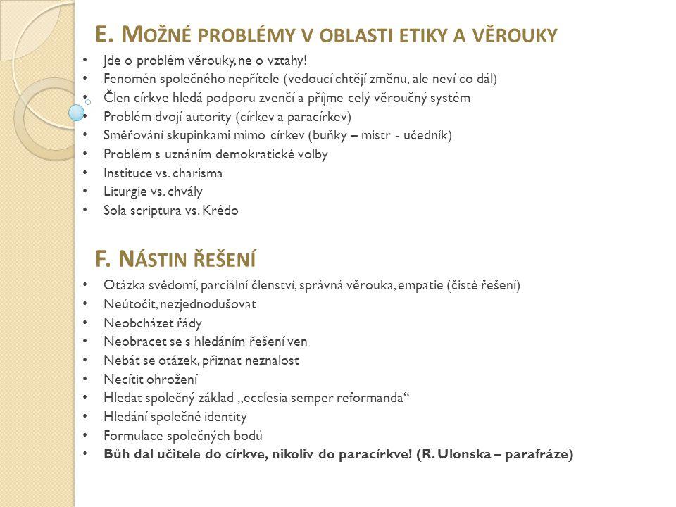 E. Možné problémy v oblasti etiky a věrouky