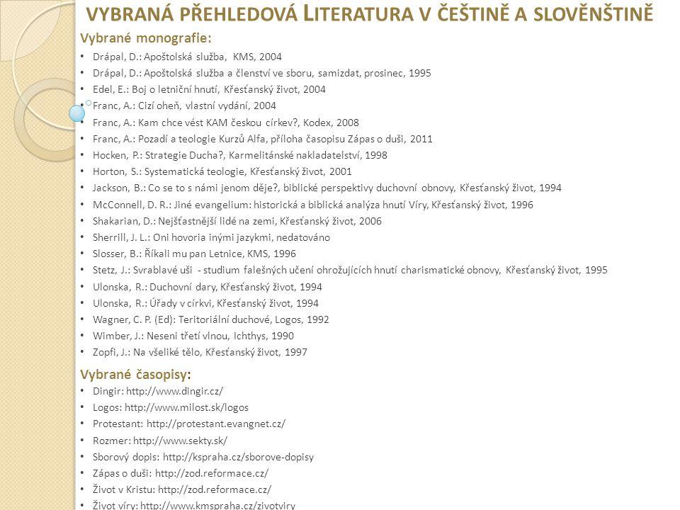 vybraná přehledová Literatura v češtině a slověnštině