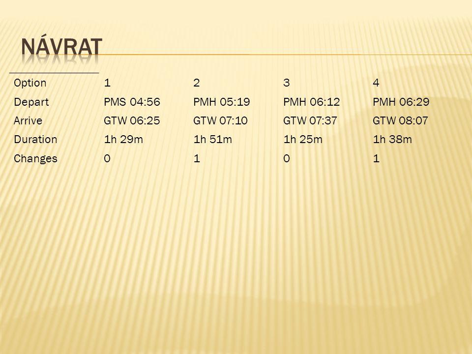 návrat Option 1 2 3 4 Depart PMS 04:56 PMH 05:19 PMH 06:12 PMH 06:29