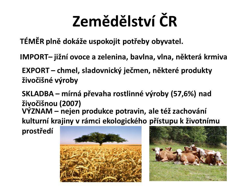 Zemědělství ČR TÉMĚR plně dokáže uspokojit potřeby obyvatel.