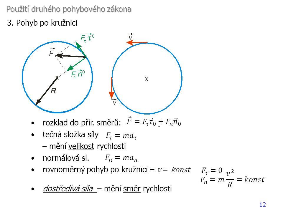 Použití druhého pohybového zákona 3. Pohyb po kružnici