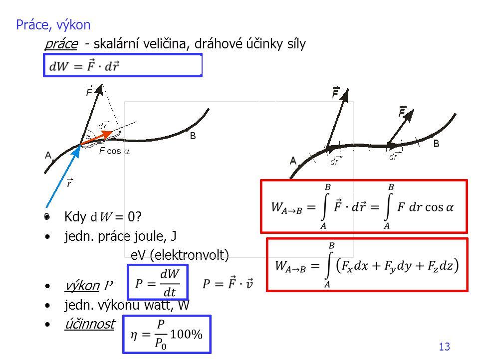 práce - skalární veličina, dráhové účinky síly