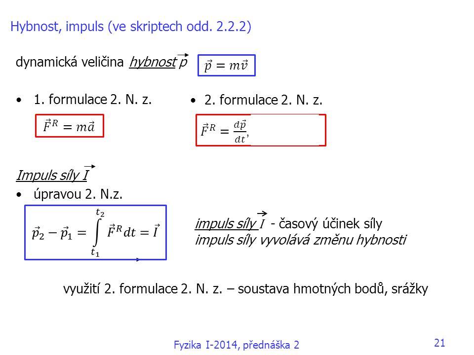 Hybnost, impuls (ve skriptech odd. 2.2.2)