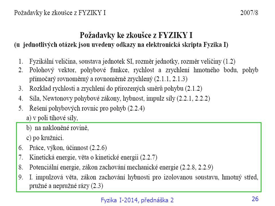 26 Fyzika I-2014, přednáška 2