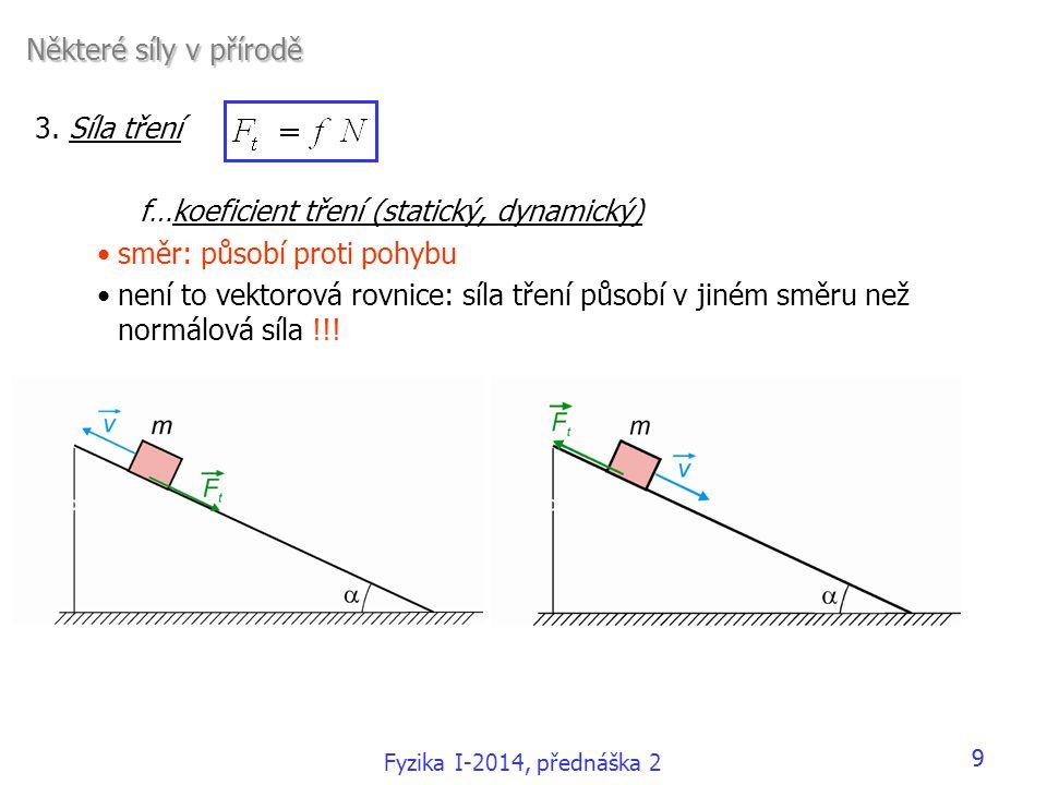 f…koeficient tření (statický, dynamický) směr: působí proti pohybu