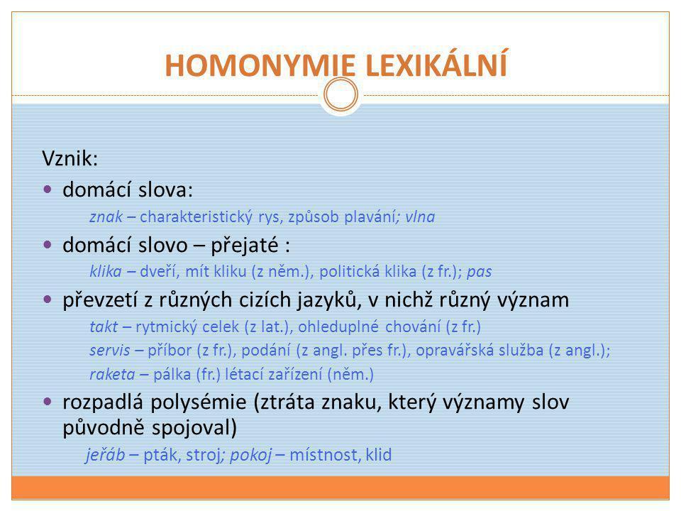 HOMONYMIE LEXIKÁLNÍ Vznik: domácí slova: domácí slovo – přejaté :