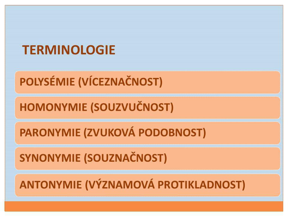 TERMINOLOGIE POLYSÉMIE (VÍCEZNAČNOST) HOMONYMIE (SOUZVUČNOST)