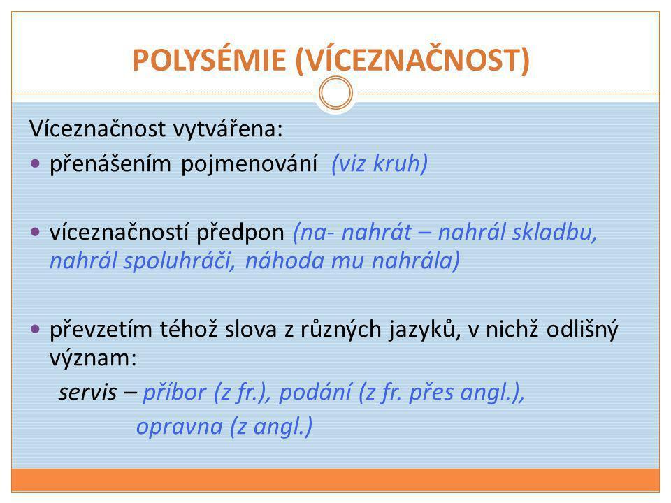 POLYSÉMIE (VÍCEZNAČNOST)