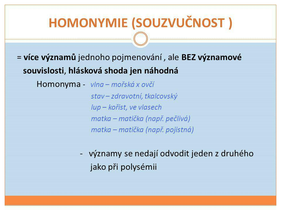 HOMONYMIE (SOUZVUČNOST )