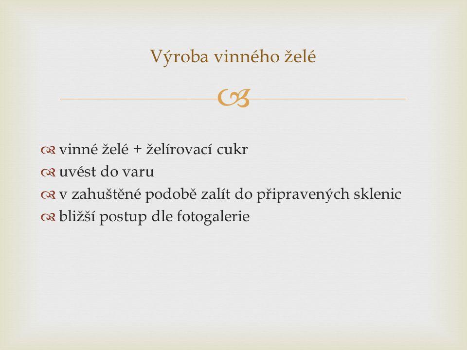 Výroba vinného želé vinné želé + želírovací cukr uvést do varu