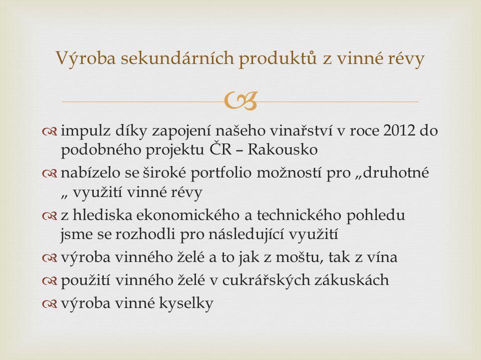 Výroba sekundárních produktů z vinné révy