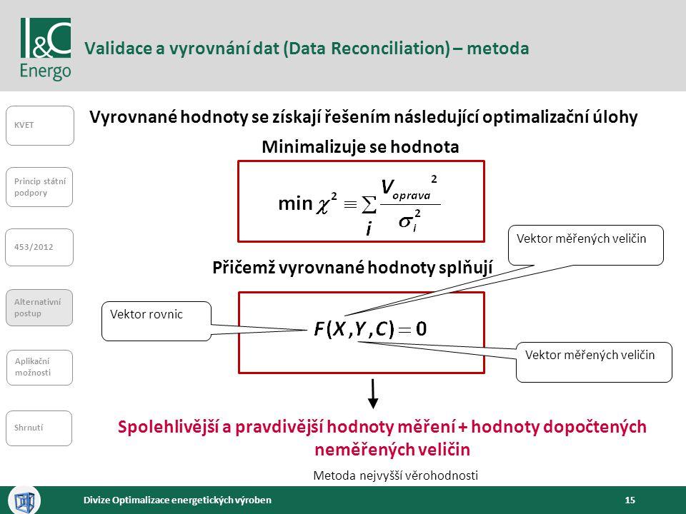 Validace a vyrovnání dat (Data Reconciliation) – metoda