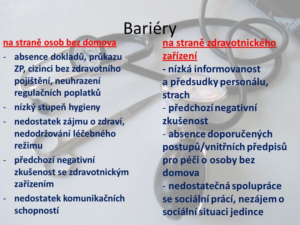 Bariéry na straně zdravotnického zařízení - nízká informovanost