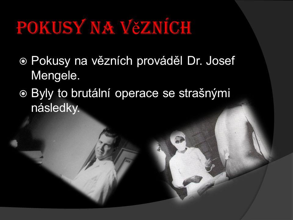 Pokusy na vězních Pokusy na vězních prováděl Dr. Josef Mengele.