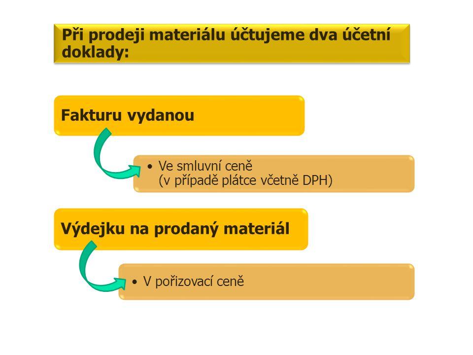 Při prodeji materiálu účtujeme dva účetní doklady: