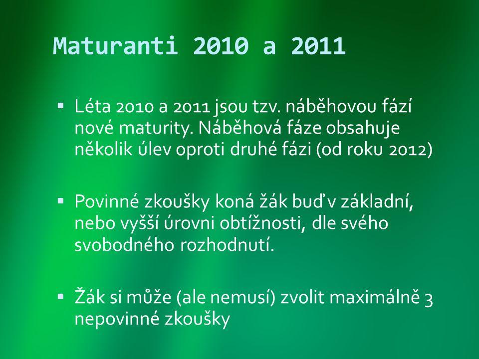 Maturanti 2010 a 2011 Léta 2010 a 2011 jsou tzv. náběhovou fází nové maturity. Náběhová fáze obsahuje několik úlev oproti druhé fázi (od roku 2012)
