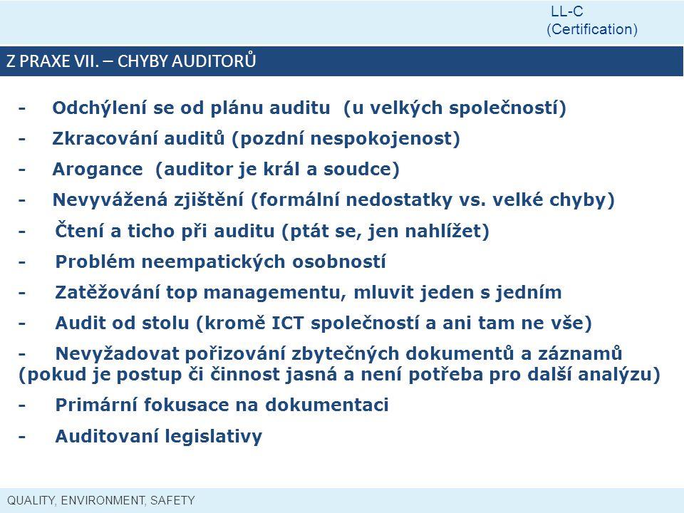 Z PRAXE VII. – chyby auditorů