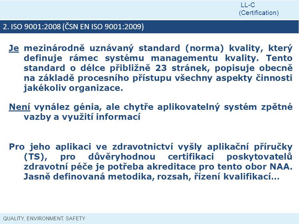LL-C (Certification) 2. ISO 9001:2008 (ČSN EN ISO 9001:2009)