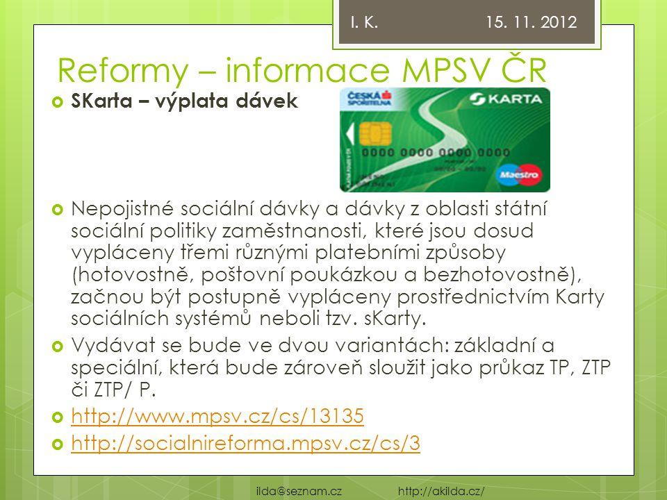Reformy – informace MPSV ČR