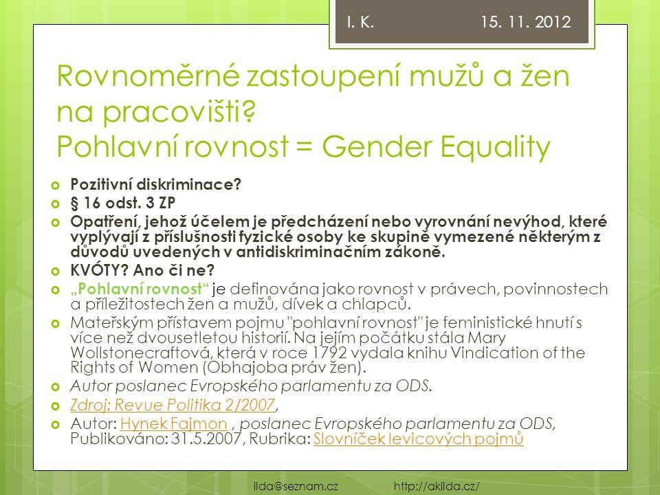 I. K. 15. 11. 2012 Rovnoměrné zastoupení mužů a žen na pracovišti Pohlavní rovnost = Gender Equality.