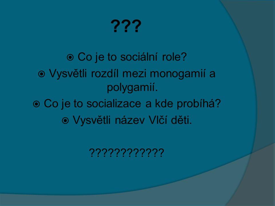 Co je to sociální role Vysvětli rozdíl mezi monogamií a polygamií. Co je to socializace a kde probíhá