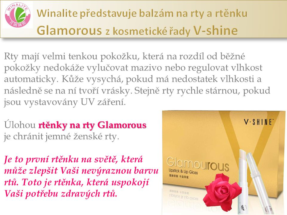 Winalite představuje balzám na rty a rtěnku Glamorous z kosmetické řady V-shine