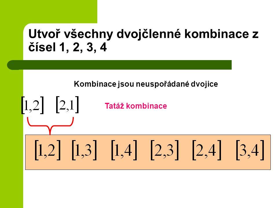 Utvoř všechny dvojčlenné kombinace z čísel 1, 2, 3, 4
