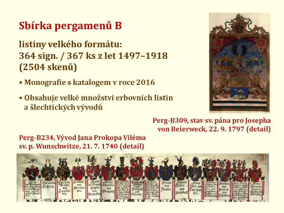 Sbírka pergamenů B listiny velkého formátu: