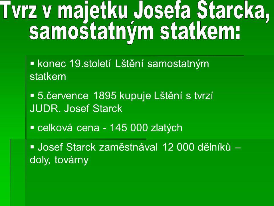 Tvrz v majetku Josefa Starcka,