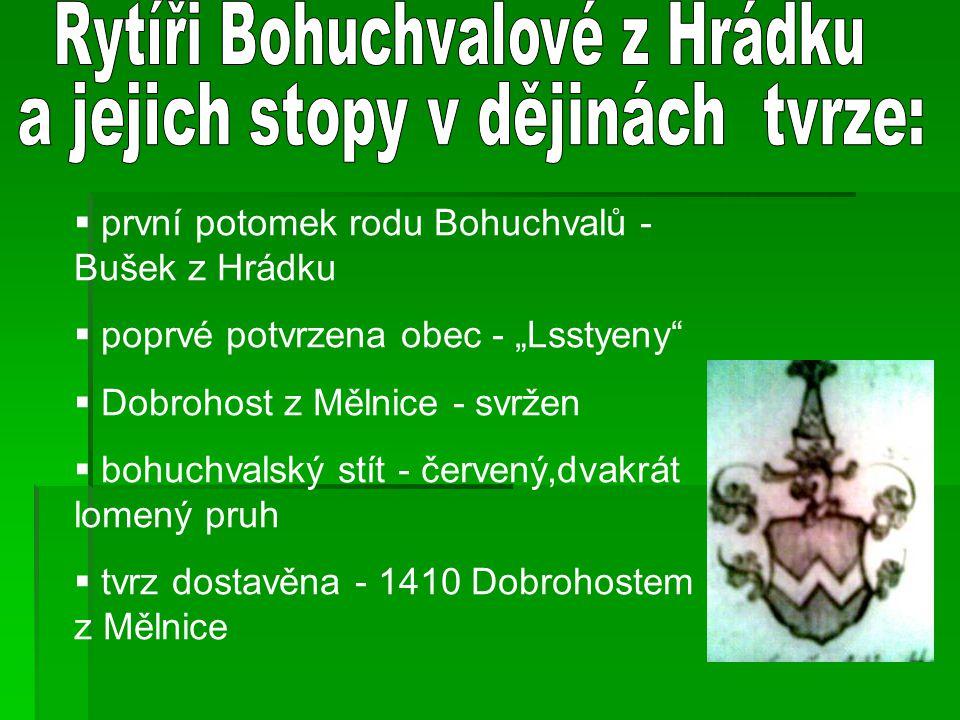 Rytíři Bohuchvalové z Hrádku a jejich stopy v dějinách tvrze: