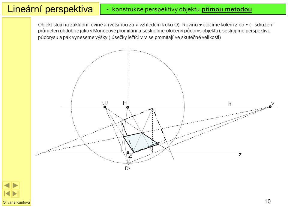 Lineární perspektiva - konstrukce perspektivy objektu přímou metodou H