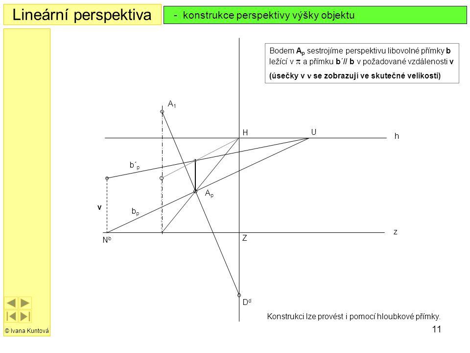 Lineární perspektiva - konstrukce perspektivy výšky objektu
