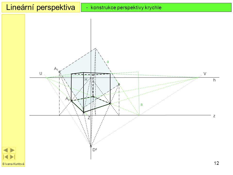 Lineární perspektiva - konstrukce perspektivy krychle a A1 U V H h Ap