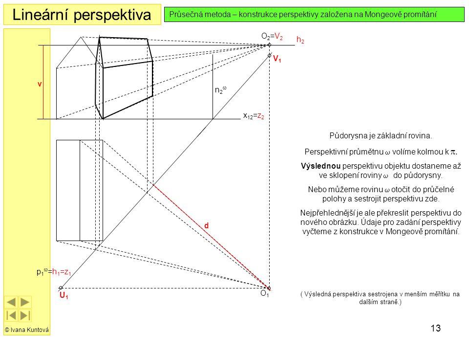 Lineární perspektiva Průsečná metoda – konstrukce perspektivy založena na Mongeově promítání. O2=V2.