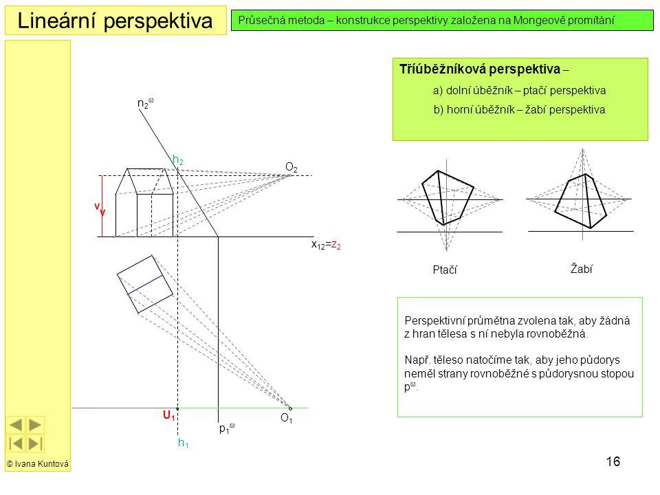 Lineární perspektiva Tříúběžníková perspektiva –