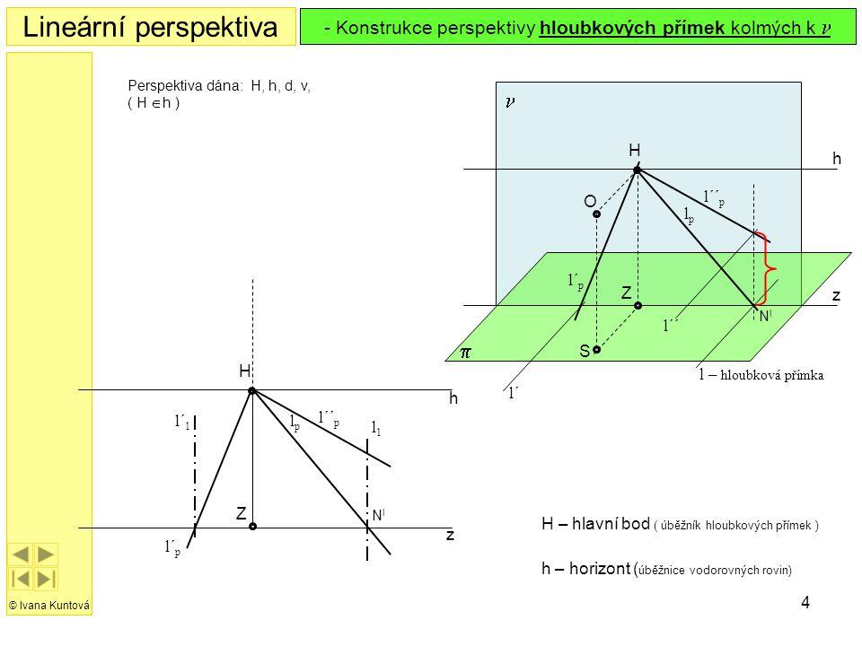 Konstrukce perspektivy hloubkových přímek kolmých k n