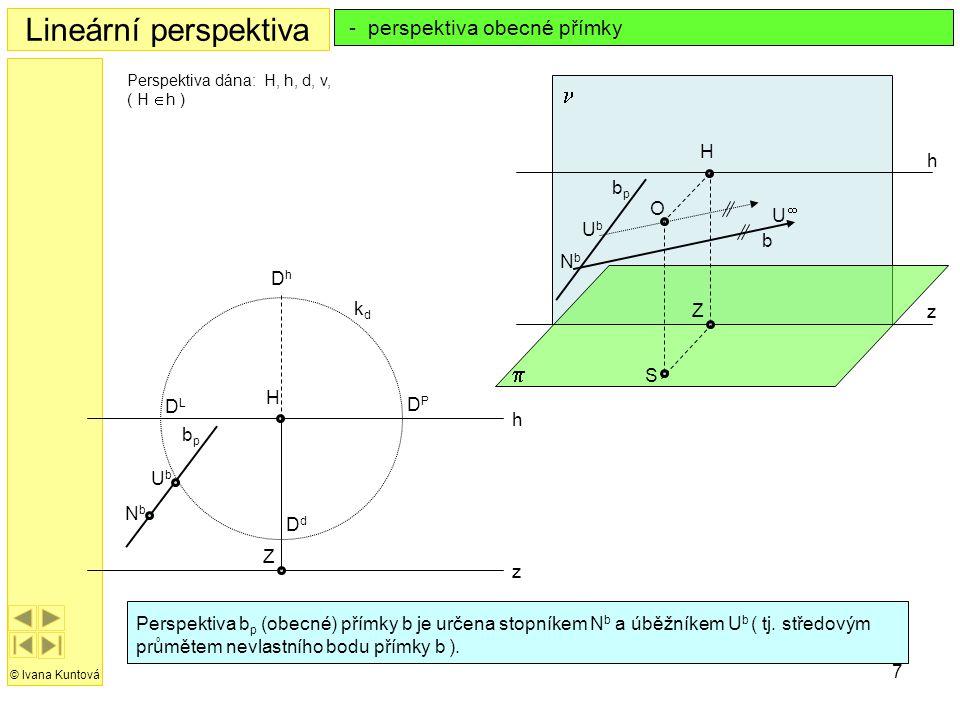 Lineární perspektiva n p - perspektiva obecné přímky H h bp O U¥ Ub b