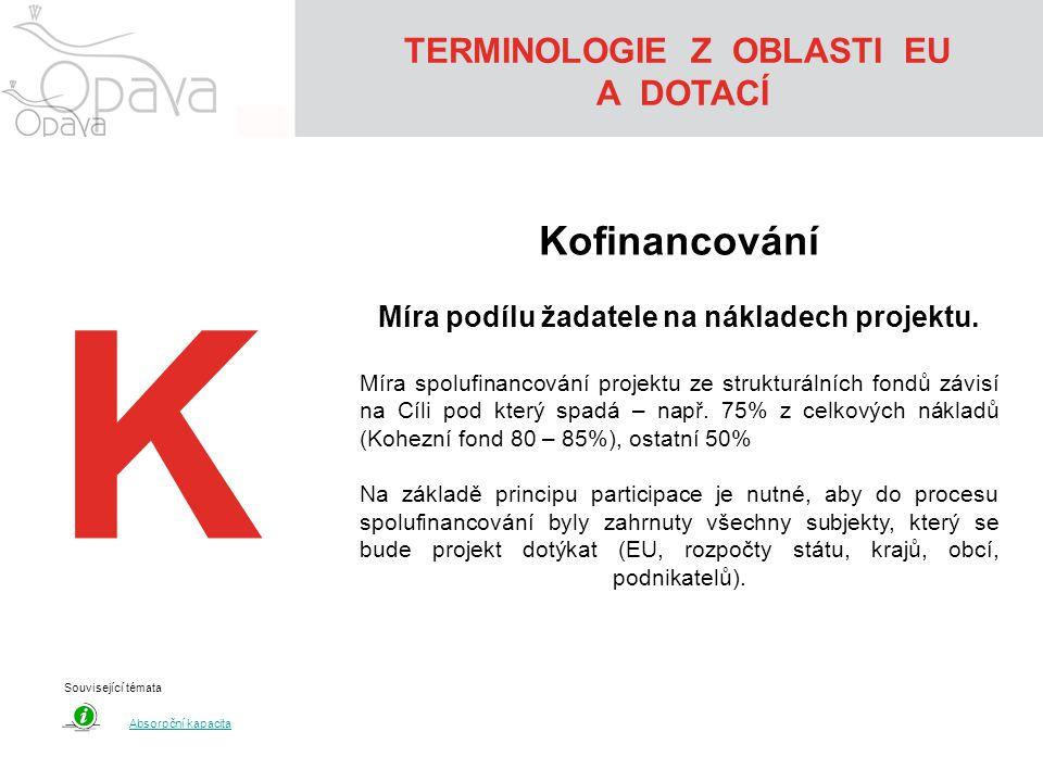 TERMINOLOGIE Z OBLASTI EU Míra podílu žadatele na nákladech projektu.