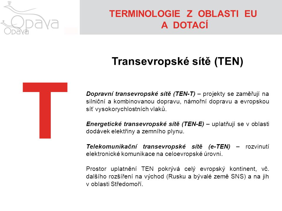 TERMINOLOGIE Z OBLASTI EU Transevropské sítě (TEN)