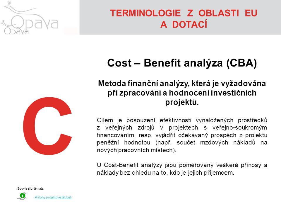 TERMINOLOGIE Z OBLASTI EU A DOTACÍ Cost – Benefit analýza (CBA)