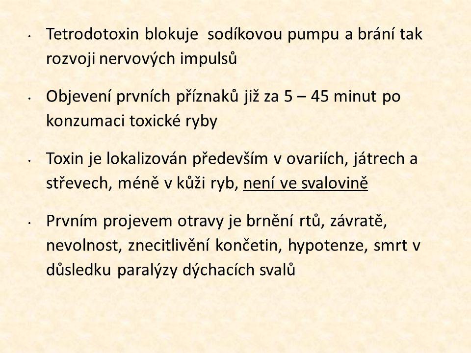 11111111 Tetrodotoxin blokuje sodíkovou pumpu a brání tak rozvoji nervových impulsů.