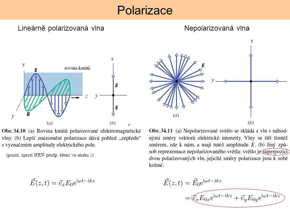 Polarizace Lineárně polarizovaná vlna Nepolarizovaná vlna x x x y z y