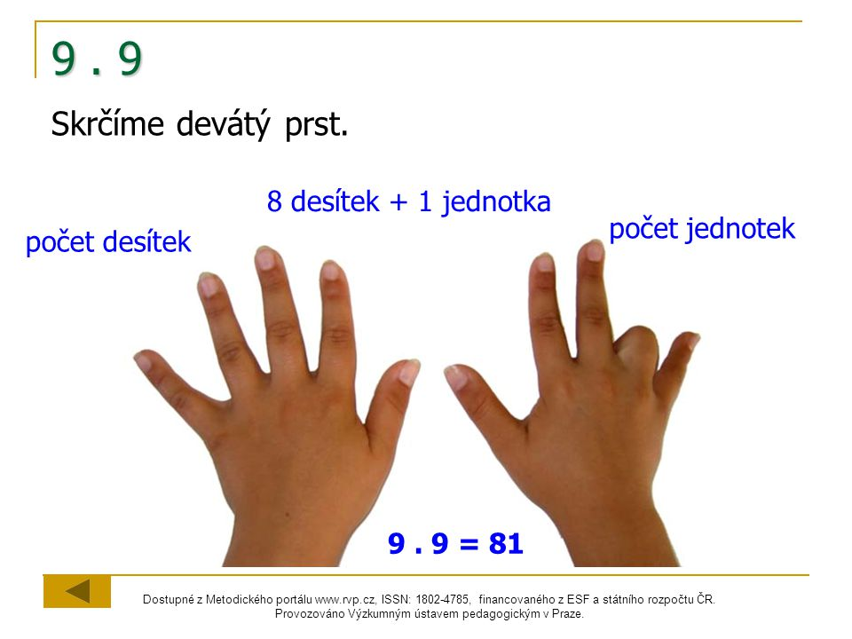 9 . 9 Skrčíme devátý prst. 8 desítek + 1 jednotka počet jednotek