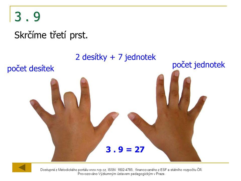 3 . 9 Skrčíme třetí prst. 2 desítky + 7 jednotek počet jednotek