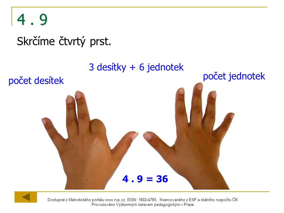 4 . 9 Skrčíme čtvrtý prst. 3 desítky + 6 jednotek počet jednotek