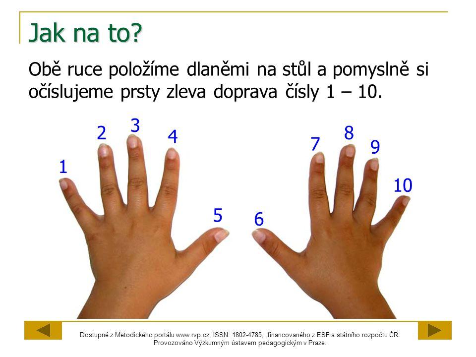 Jak na to Obě ruce položíme dlaněmi na stůl a pomyslně si očíslujeme prsty zleva doprava čísly 1 – 10.